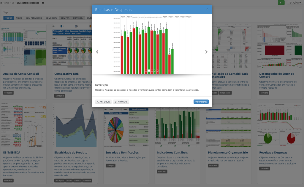Seleção de Dashboards de Business Intelligence